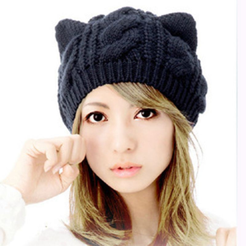 New Fashion Lady Girls Winter Knitted Wool Makes Hotspot Cat Ear Hat Beanie Women Men Lovely Warm Solid Color Hip-hop Skullies 2017 of the latest fashion have a lovely the hat of the ear lovely naughty lady s hat women s warm and beautiful style