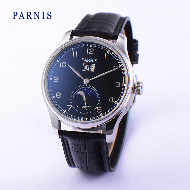 42mm Parnis Automatic Power Reserve Men s Watch Black Dial Silver Numbers PA4002 Mechanical Wristwatch Moon