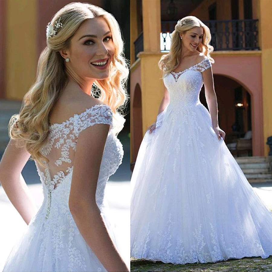 Glamorous Tulle V-neck Neckline A-line Wedding Dresses With Lace Appliques Bridal Dress Vestidos De Noivas