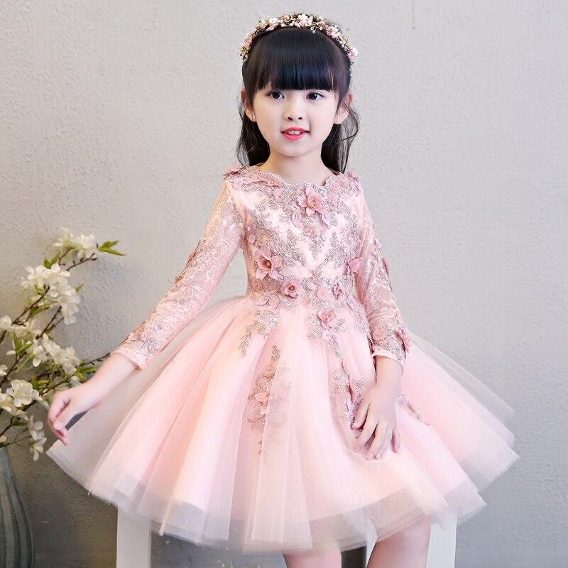 Manches longues rose Appliques princesse Style fleur fille robes pour robe de bal de mariage enfants robe de reconstitution historique anniversaire spectacle Costume B83
