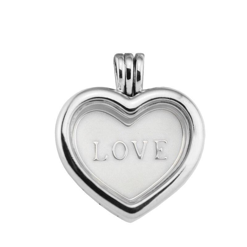Fandole 925 Sterling-argent-bijoux colliers pour femmes bijoux à bricoler soi-même coeur médaillon colliers avec amour argent émail coeur plaque