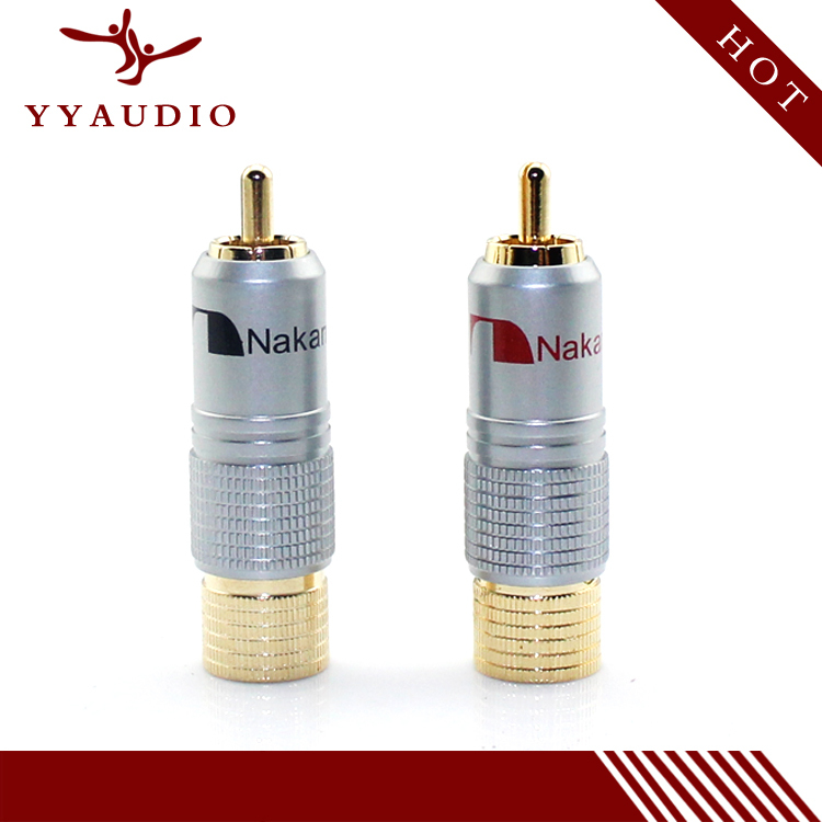 4pieces/lot New 24K Gold Nakamichi Nakamichi RCA Plug Audio Cable Speaker Connector Lockable adjustable4pieces/lot New 24K Gold Nakamichi Nakamichi RCA Plug Audio Cable Speaker Connector Lockable adjustable