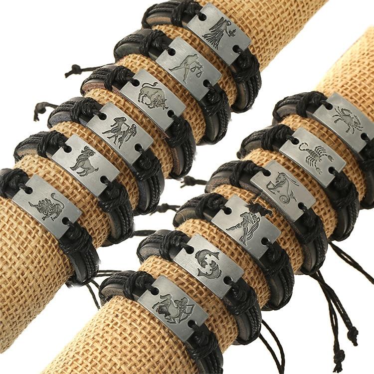 Black Skin Leather Birthday Gift 12 Species Constellation Each Item Cowhide Bracelet Vintage