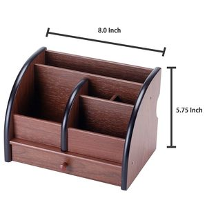 Image 4 - 5 Compartment Luxury Brown Wood Office Desktop Organizer / Letter Sorter with Drawer