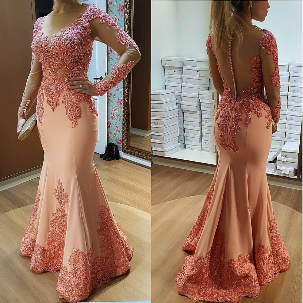 Manches longues musulman robes de soirée 2019 sirène dentelle perlée voir à travers islamique dubaï saoudien arabe longue robe de soirée robe de bal