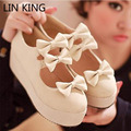 LIN KING Womens Spring Autumn Shoes Female High Heel Platform Pumps Leisure Sweet Round Toe Buckle Butterfly Lady Lolita Shoes