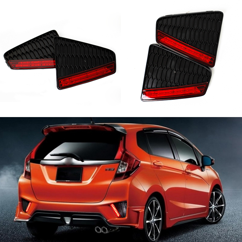 Car-styling Red Rear Bumper Reflector Light Fog Parking Warning Brake Light Stop Tail Light for Honda 2014-15 New Fit Jazz new multi led reflector rear tail light bumper brake light for nissan qashqai