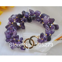 New 8'' 3Row Natural Stone Original Bracelet 4 12mm Baroque Shaper With 4mm Gold Plateds Beads Wholesale
