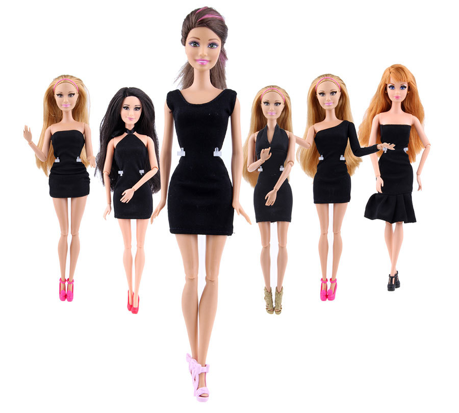 NK  One Pcs Doll Black Lovely Dress Party Gown For Barbie Doll Design Outfit Best Gift For Girl' Doll Hot Sale Accessories 079JJ