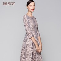 Jane Story Lady S Flared Slim Elegant Hollow Out Dress With Three Quarter Sleeve Lace New
