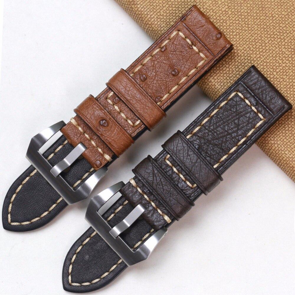 Pesno Africa Echtes Straußenleder Uhrenarmband Schwarz Braun Grau - Uhrenzubehör - Foto 2