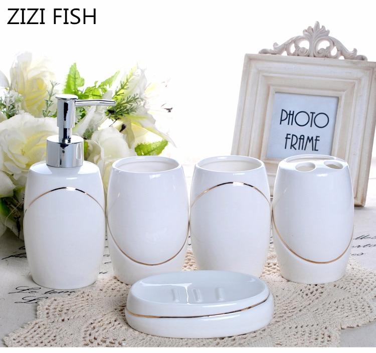 China five piece Set ceramics Bathroom Accessories Set Soap Dispenser Toothbrush Holder Tumbler Soap Dish Bathroom