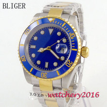 new 40mm Bliger blue dial luminous blue ceramic bezel sapphire glass Automatic movement Men's business Watch