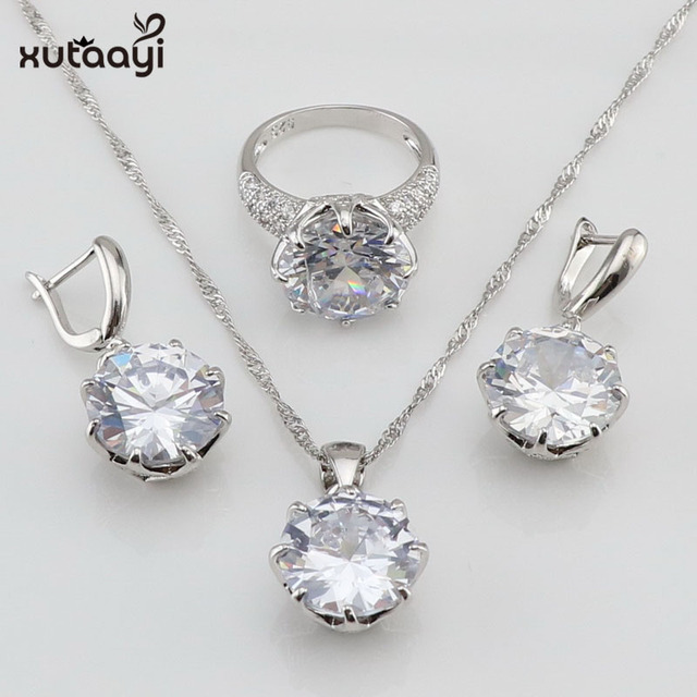 4a03303a0b US $10.42 40% OFF|XUTAAYI White Colors Stones 925 Sterling Silver Jewelry  Sets For Women Necklace Pendant Earrings Rings Free Gift Box-in Jewelry  Sets ...