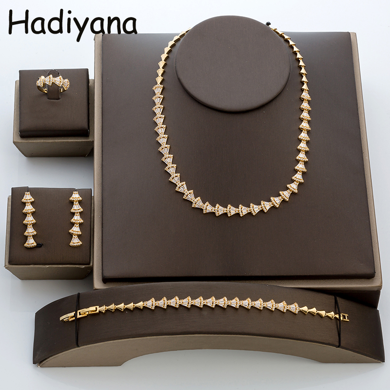 Hadiyana New Arrival Woman Copper Jewelry Set Hot Stylish Dress Shape Necklace Earrings Bracelet Ring Bridal