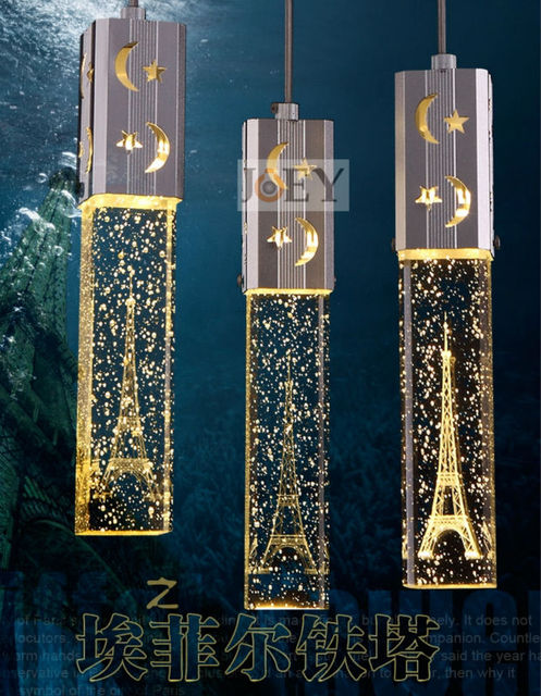 Modern Crystal Chandelier Dinning Room Lighting With 3pcs 5W LED Lamp  Eiffel Tower Light Shade Free