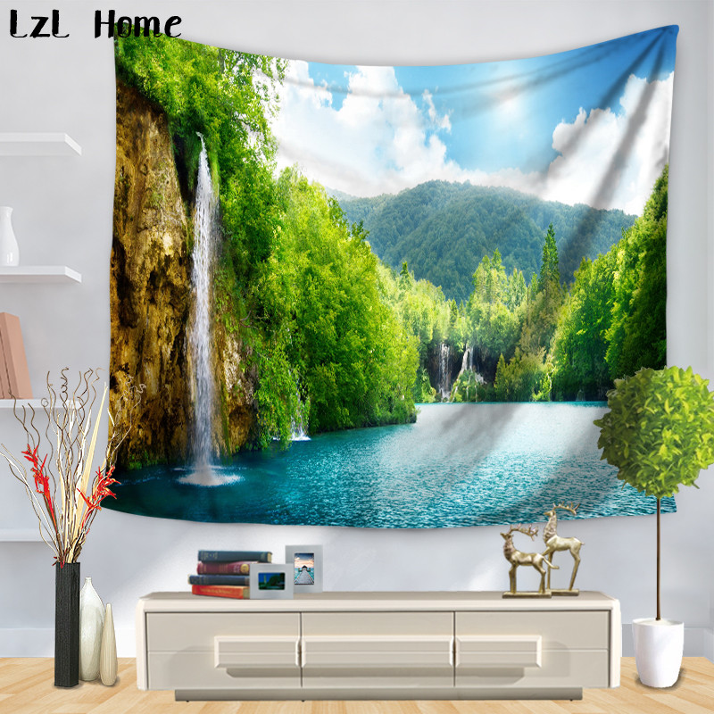 LzL Home Super Beautiful Scenery Tapestry Blue Water Fancy Valley Wall Hanging Bath Towel Tenture Mural Yoga Mat Camping Tent image
