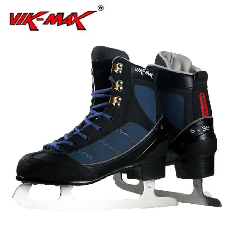 Prix pour VIK-MAX Adulte Enfants Bleu Foncé En Cuir Figure skate Chaussures Avec cadre En Alliage D'aluminium et Acier Inoxydable glace lame