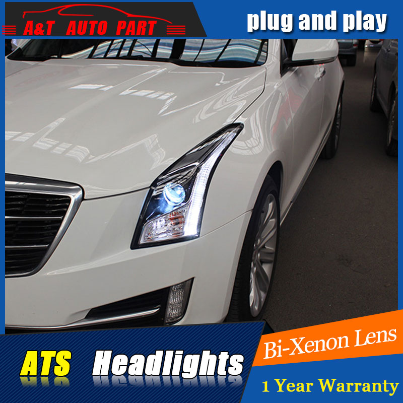 Car Styling For Cadillac ATS headlights For ATS LED head lamp led front light Bi-Xenon Lens xenon HID auto pro for honda fit headlights 2014 2017 models car styling led car styling xenon lens car light led bar h7 led parking