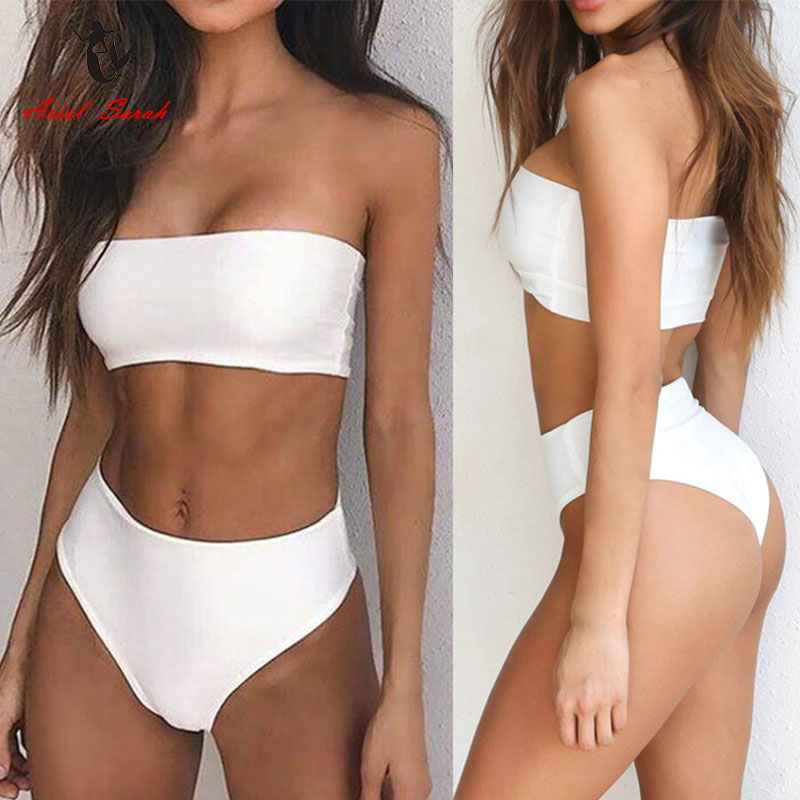 Ariel Sarah Marke Heißer Bikini 2017 Neue Design Badeanzug Frauen Sexy Solide Brazilian Bikini Mid Taille Badeanzug Bademode Q347