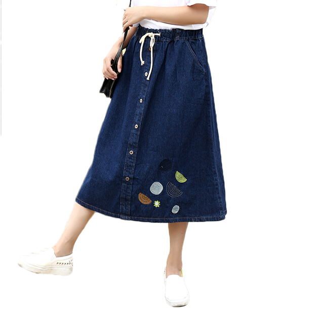 Long Jean Skirts Womens Denim Girls Single Breasted Embroidery Blue Saia Longa Female Maxi