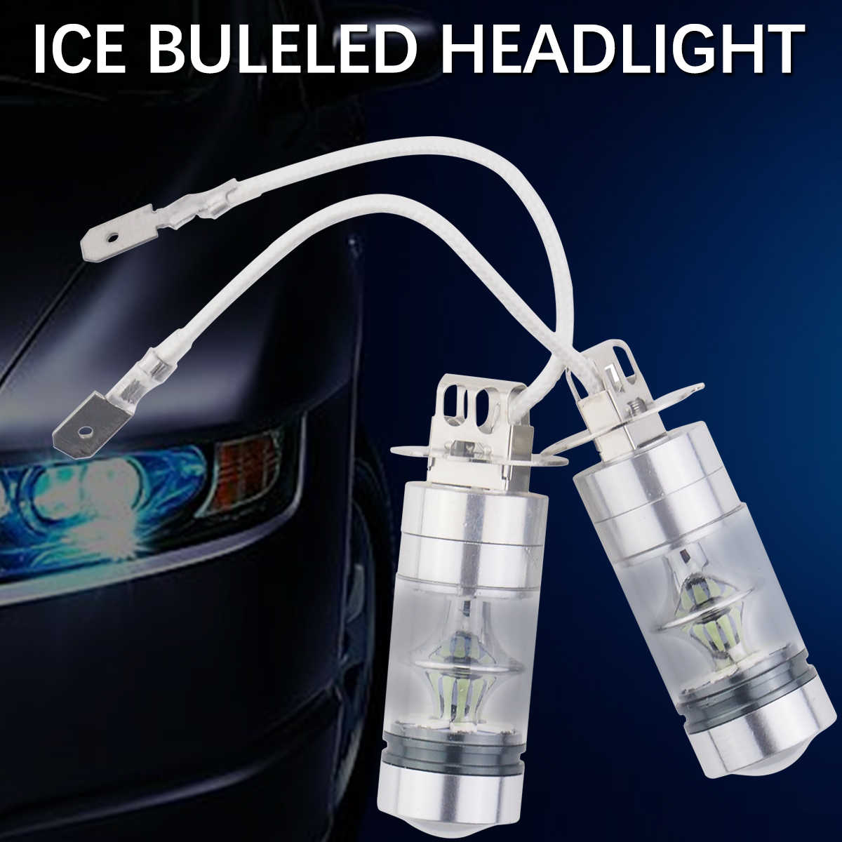 A Pair Ice Blue Fog lamps Car Driving Lights 20LED Bulbs  H3 H4 H7 Car Fog Lights Vehicle LED Fog Lamp