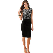 Womens Black Lace Patchwork Summer Dresses 2018 Casual Party Sleeveless O Neck Free Shipping Elegant Work
