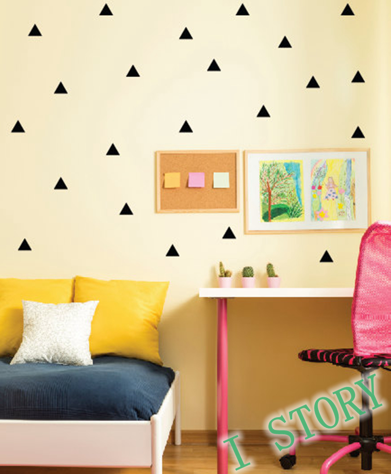 Triangles wall sticker kids room wall decoration gold for Wall decals kids room