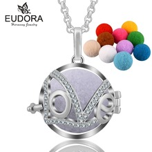 Eudora Hollow Crystal LOVE Aromatherapy Perfume Harmony Floating Locket Cage Essential Oils Pendant Necklace with 10pcs Pompon