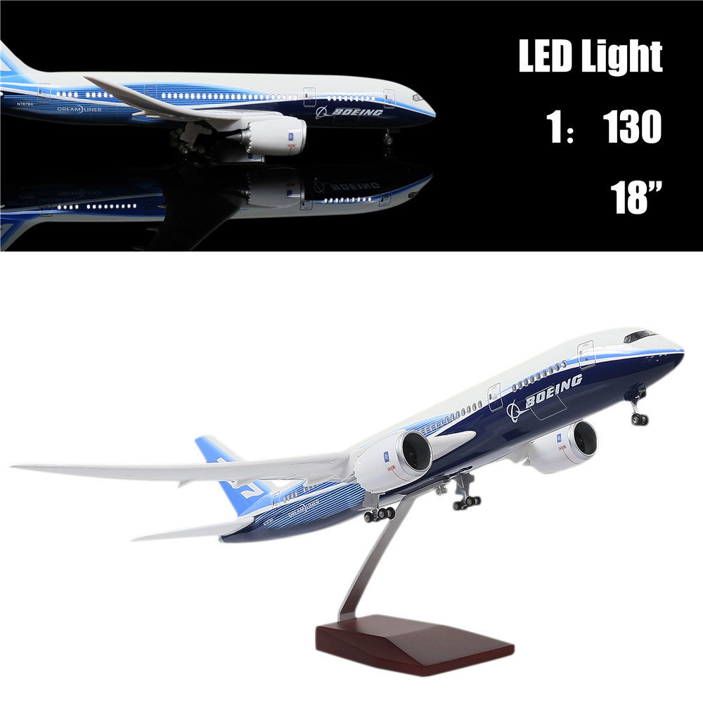 46CM 1:130 Diecast Airplane Model Boeing 787 Dreamliner with LED Light(Touch or Sound Control) Plane for Decoration or Gift46CM 1:130 Diecast Airplane Model Boeing 787 Dreamliner with LED Light(Touch or Sound Control) Plane for Decoration or Gift