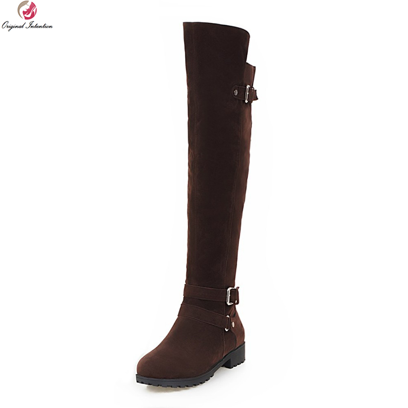 Original Intention Stylish Women Over-the-Knee Boots Round Toe Square Heel Winter Boots Black Brown Shoes Woman US Size 3.5-10.5 enmayla winter autumn round toe low heel knee high boots women flats lace up shoes woman rider brown black suede motorcycle boot