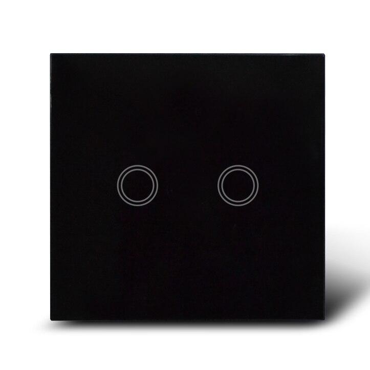 Noir cristal tactile en verre mur interrupteur/commutateurs électriques 2 gang 1 way + bleu led rétro-éclairage --- royaume-uni standard