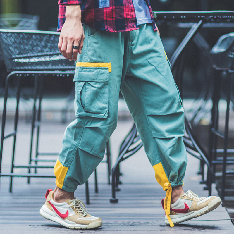 Fashion Streetwear Punk Style Men Jogger Pants Ankle Drawstring Loose Fit Red Green Big Pocket Cargo Pants Men Hip Hop Trousers