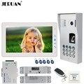 JERUAN  9 дюймов  видеодомофон  дверной звонок  система  белый монитор + металлическая клавиатура с кодом отпечатков пальцев  Водонепроницаемая ...