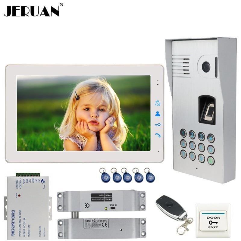 JERUAN 9 Inch Video Intercom Doorbell DoorPhone System White Monitor+Metal Fingerprint Code Keypad Waterproof RFID Access Camera