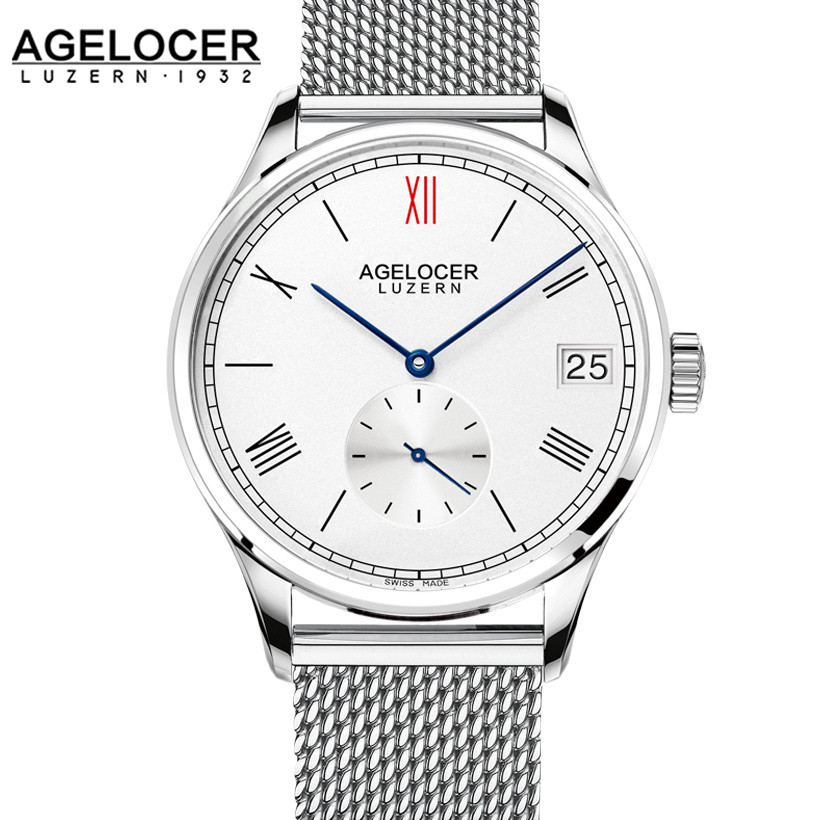 2017 AGELOCER famous Swiss brand male watches luxury mens automatic watch with stainless steel bracelet original gift watch box agelocer men watch luxury brand military automatic watches mens stainless steel male clock sport business wrist watch gift box