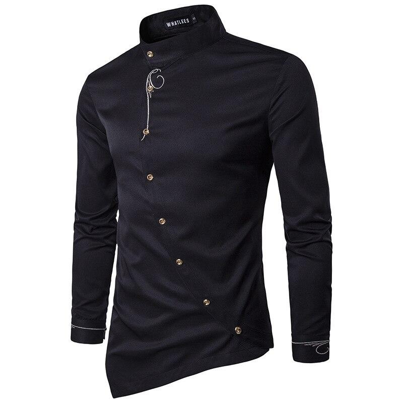 Men Shirt 2018 Spring Personality Oblique Button Irregular Shirt Men Hip Hop Casual Shirt New Long Sleeve Slim Fit Male Shirts