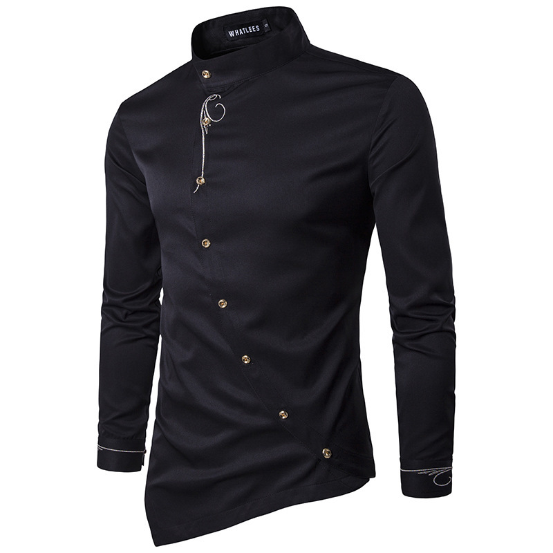 Men Shirt 2020 Spring Personality Oblique Button Irregular Shirt Men Hip Hop Casual Shirt New Long Sleeve Slim Fit Male Shirts