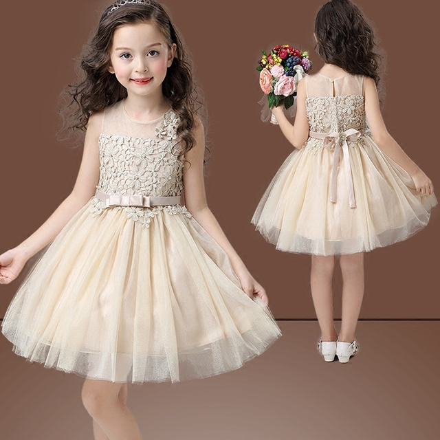 89e2d02b2e96 Girls party wear Champagne gold lace girl clothing for children ...