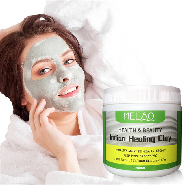 Indian Healing Clay Face Mask Powder Natural Deep Skin Pore Cleansing Moisturizing Replenishment Oil Control Shrink Pores