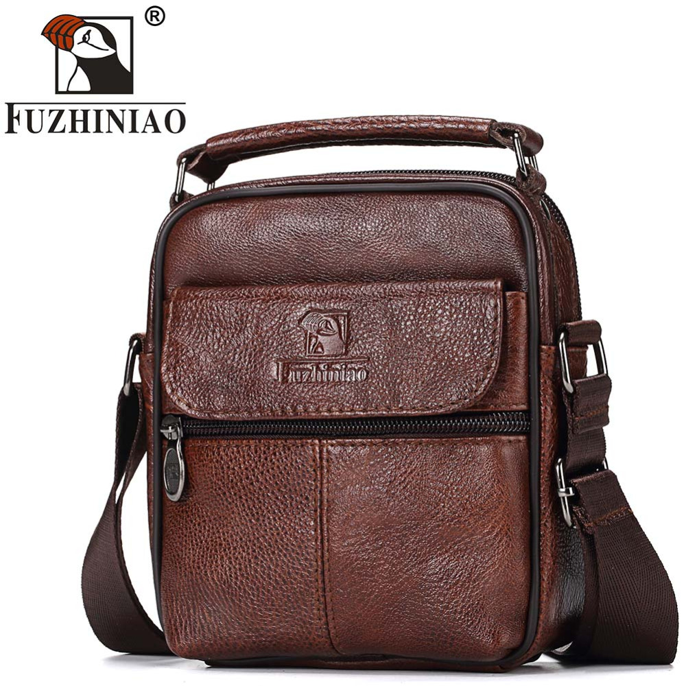 FUZHINIAO Genuine Leather Messenger Bag Male Small