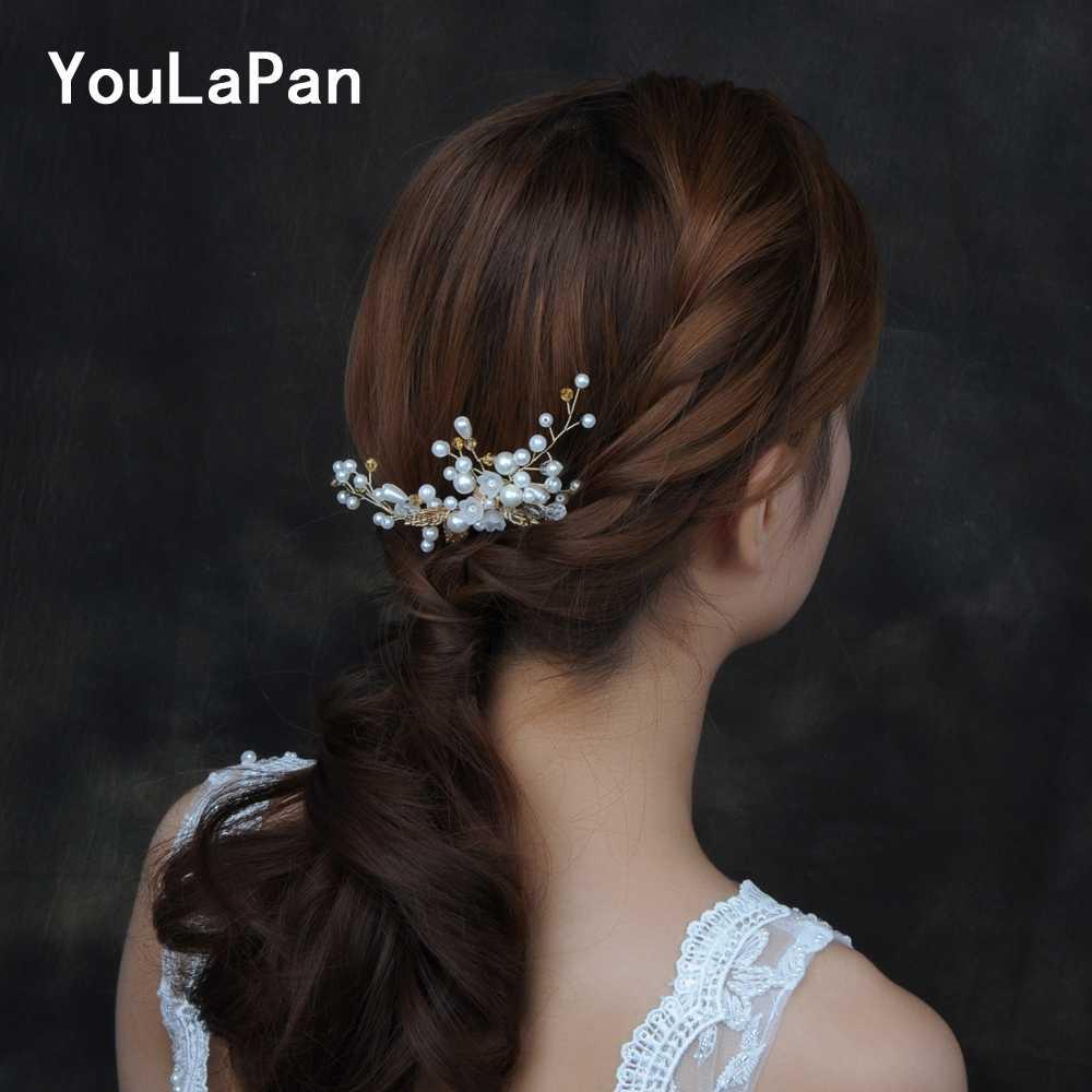 YouLaPan HP138 髪櫛ジュエリーブライダルヘアジュエリーウェディングジュエリー花嫁ため手作りパールクリスタルブライダルウェディング