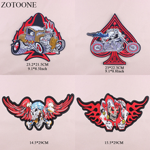 ZOTOONE Large Back Punk Patch Iron On Skull Bikes Patches For Clothing Embroidery Poker Motorcycle Stickers Applique E