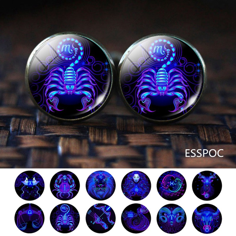12 Zodiac Sign Wedding Cufflinks For Men Silver Alloy Suit Cufflinks Husband Father Cuff Links Birthday Gifts With Box