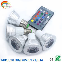 Lowest price RGB lamp led E27 E14 GU10 GU5.3 85-265V RGB LED Bulb RGB Spotlight with 24Keys IR Remote Controller 5W LED Lamp(China)