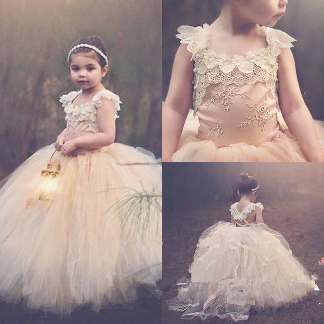 9fd7a4ccb5 New Champagne Puffy Tulle Girls First Communion Dress Floral Lace Flower  Girl Dresses for Wedding Girls Birthday Party Gown