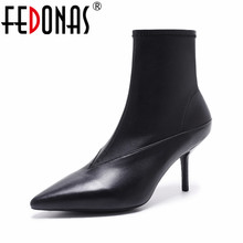 FEDONAS Fashion Brand Women Sexy Pointed Toe Ankle Boots Side Zipper Sock Boots Spring Autumn Black Short Shoes for Female
