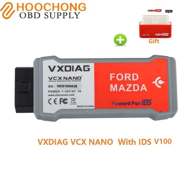 Dhl frete grátis original vxdiag vcx nano para ford/mazda 2 em 1 com ids v100.01 versão usb