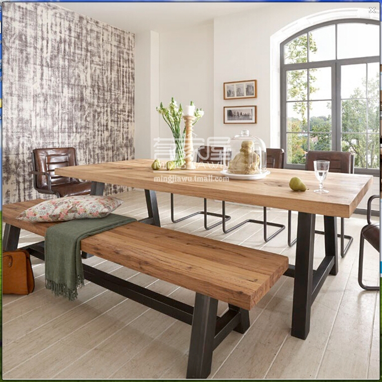 Rectangle Dining Table With Bench: Hot American Style Dining Table Wood Tea Table Desk Wood