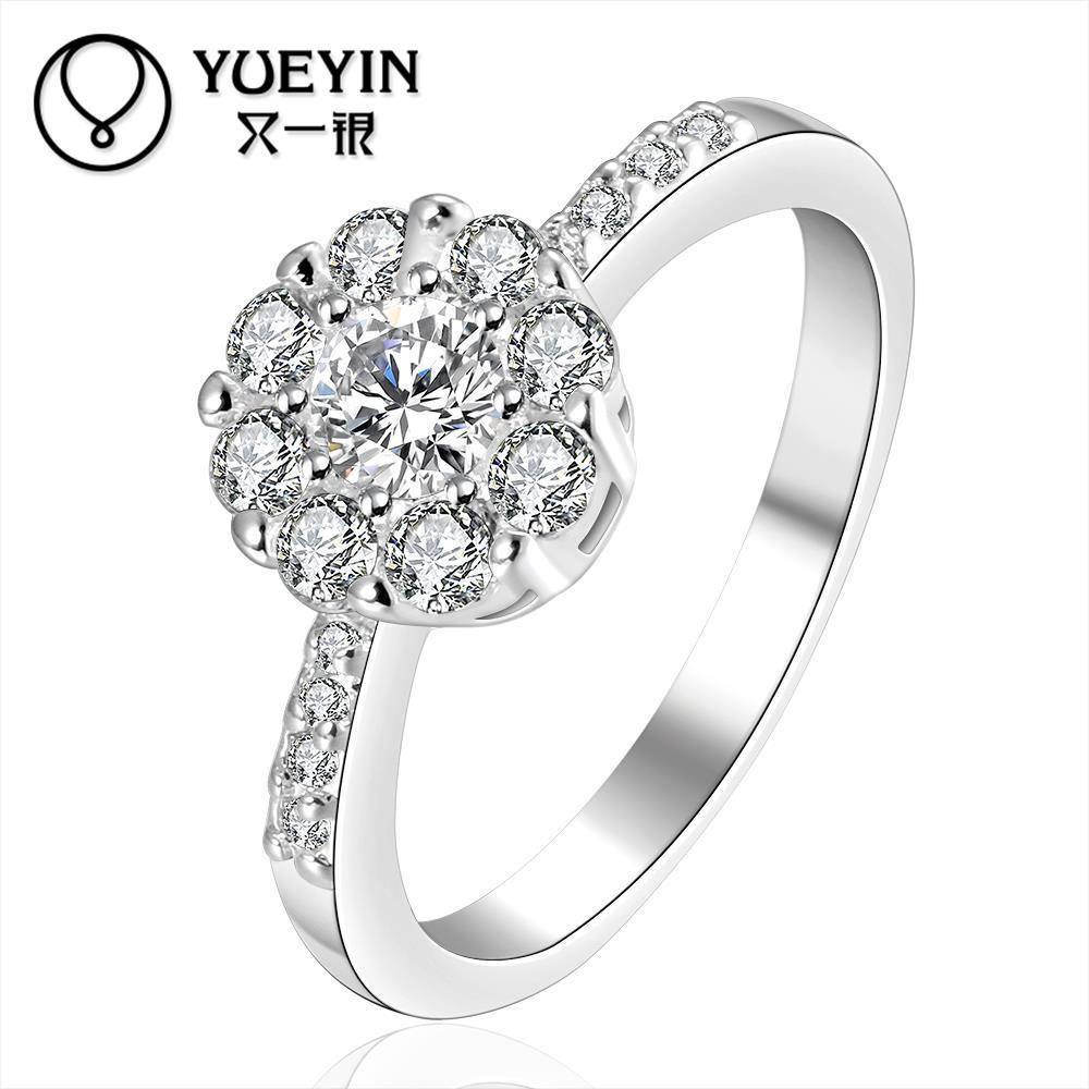 b45c0fc7c Faixas de casamento Nupcial Flor CZ Anéis Jóias Anéis Anel de Prata de  Cristal Para As Mulheres Acessórios Do Casamento Amor Branco